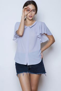 Lily Flutter Blouse avail in Cream $72