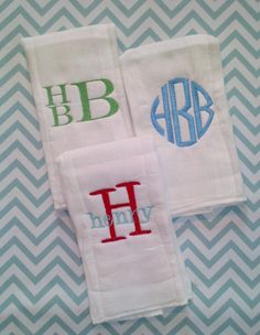 Monogrammed Burp Cloth Trio  (Boy). $18.00, via Etsy.