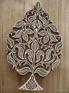 Indian Wooden Stamp / Hand Carved Tree Printing by theDelhiStore