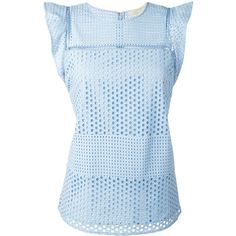 Michael Michael Kors Combo Eyelet Sleeveless Top (1.885 ARS) ❤ liked on Polyvore featuring tops, light blue, blue top, cut out tank, eyelet tank top, blue tank top and blue tank