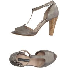 Janet & Janet Sandals ($160) ❤ liked on Polyvore featuring shoes, sandals, grey, buckle shoes, leather buckle sandals, leather ankle wrap sandals, leather shoes and leather sandals