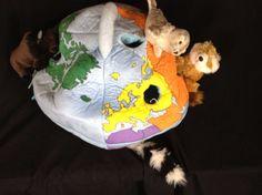 "FAO Schwarz Toys R US Earth Globe Carrier Animal Plush Dolls 15"""
