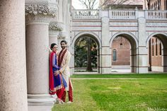 indian wedding groom and bride outside portraits http://maharaniweddings.com/gallery/photo/10556