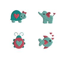 4 Mini Valentine Animal Machine Embroidery by SewChaCha on Etsy