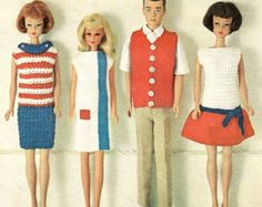 Barbie doll knitting pattern, barbie clothes, skipper clothes, vintage knitting pattern, ken clothes, doll clothes pdf instant download 1960