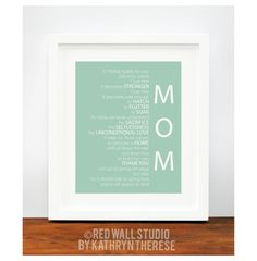 Gift for Mom under 25 - Personalized Mint Nest Poem Art Print - Mother of the Bride Gift for Her - Mom Birthday Gift - Mother's Day Gift. $18.00, via Etsy.