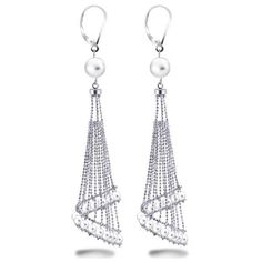 Allurez White Freshwater Chandelier Pearl Earrings in Sterling Silver (2 860 ZAR) ❤ liked on Polyvore