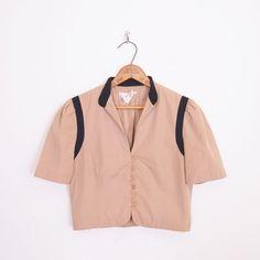 #Vintage #70s #80s BUTTON UP SHORT SLEEVE #CROP dress #BLAZER #JACKET #shirt #blouse #top S #Cropped #CropTop #CropBlazer #CropJacket #Ebay #TrashyVintage $38.00