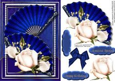 Beautiful Blue Fans and Cream Roses  on Craftsuprint designed by Ceredwyn Macrae - A lovely card to make and give to anyone on there special day Beautiful Blue Fans and Cream roses a lovely card has two greeting tags and a blank one for you to choose the sentiment , - Now available for download!