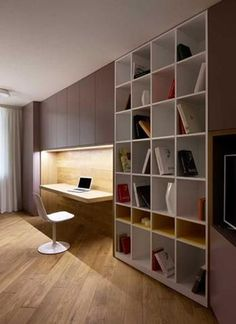 Contemporary Home Office Design Ideas - Browse pictures of contemporary office. Discover inspiration for your stylish home office design with ideas for style, storage space and furniture. Contemporary Apartment, Contemporary Interior Design, Office Interior Design, Office Interiors, Office Designs, Contemporary Homes, Contemporary Office, Contemporary Stairs, Contemporary Building