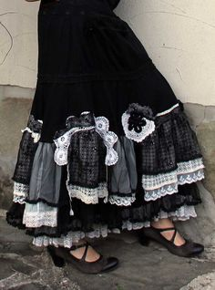 Old lace black and white crazy skirt, recycled skirt, remade skirt, lace skirt, black and white Beautiful Outfits, Cool Outfits, Modest Outfits, Skirt Outfits, Summer Outfits, Altered Couture, Diy Clothing, Modest Clothing, Black Laces