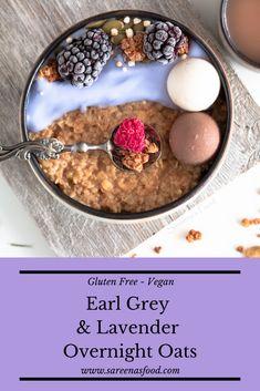 Earl Grey & Lavender Overnight Oats (Gluten Free) – Sareena's Food Purple Food Coloring, Lavender Recipes, Lavender Honey, Earl Grey Tea, Gluten Free Oats, Vanilla Yogurt, Overnight Oats, Brittany, My Recipes