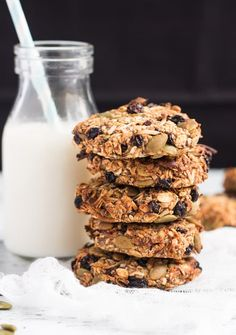 Stack of Healthy Grab & Go Banana Breakfast Cookies.