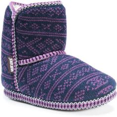 MUK Luks Women's Short Knit Patterned Bootie, Size: L (9-10), Blue