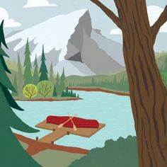 Boreal Forest - A canoe resting on a dock, along a alpine lake, over looked by a majestic mountain peak.