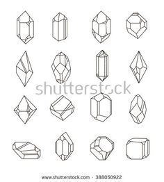 Set of non-linear crystals. Minerals from landfills for fabric, poster, t-shirts.