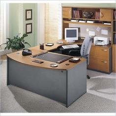 Bush Corsa Series Bow Front U-Shape Wood Computer Desk Set with Hutch in Natural Cherry - BSC020-724