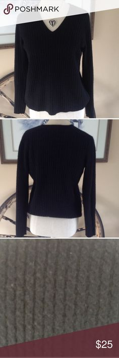 Ann Taylor Black Cashmere Sweater Black sweater with very light knit cable knit design. V-neck 100%  cashmere Ann Taylor Sweaters V-Necks
