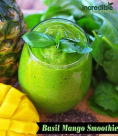 Basil Mango Smoothie  -1 mango, peeled -1/2 cup pineapple, cubed -3 cups baby spinach -5 fresh basil leaves -2 tablespoons chia seeds, soaked for 5 minutes -8 ounces homemade almond milk  Calories: 319 | Protein: 9 grams | Fiber: 12.3 grams | Calcium: 19% DV | Iron: 5.6 mg