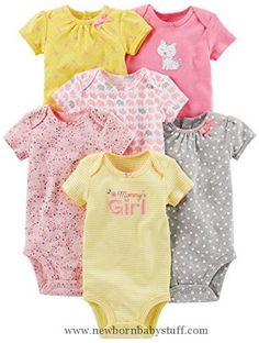 Baby Girl Clothes Simple Joys by Carter's Baby Girls 6-Pack Short-Sleeve Bodysuit, Pink/Yellow, 3-6 Months