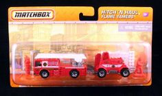 """Fire Truck Flame Tamers Matchbox Hitch 'N Haul Die-Cast 1:64 Scale Vehicle & Accessories Set by Mattel. $5.97. Includes: Fire Truck, Fire Support Vehicle, Firefighter & """"Flame"""" Barrel.. Ages 3 and over.. Quality Die-Cast Vehicles! Fire Truck vehicle measures approximately 3 inches long.. From Mattel. FLAME TAMERS * FIRE TRUCK * Matchbox Hitch 'N Haul Die-Cast 1:64 Scale Vehicle & Accessories Set. There's a four-alarm fire and only one crew is tough enough to tackle the job!  FLAM..."""