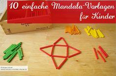 Tutorial mit 10 Mandala Vorlagen für Kinder mit Spielgaben - Legespiel 8 Triangle, Explore, Puzzles, Kindergarten, 1, Ideas, Mandalas, Educational Activities, Backgrounds