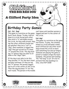 Clifford | Scholastic party games and lots of Clifford party ideas!