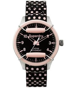 Superdry Women's Scuba Polka Pink and Black Dot Silicone Strap Watch 39mm…