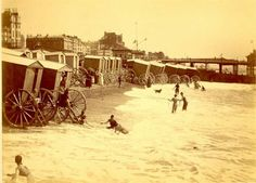Bathing machines at the Brighton West Pier, c. Brighton Sea, Brighton Sussex, Brighton England, South East England, Brighton And Hove, Sea Side, The Good Old Days, Victorian Era, Vintage Images