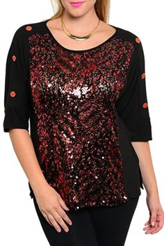 Plus Size Trendy Sequined Buttoned Quarter Sleeve Top