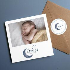 faire part de naissance avec dessin de lune et etoiles Faire Part Photo, Polaroid Film, Frame, Custom Candles, Free Pics, Moonlight, A Frame, Frames, Hoop