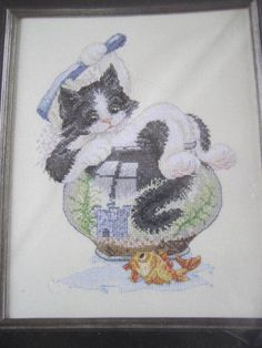 See Sally Sew-Patterns For Less - Bath Time Cat in Fishbowl Cross Stitch Needlework Kit