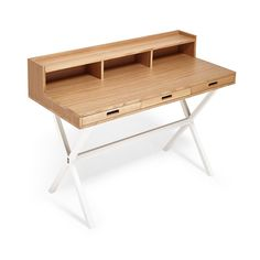 Exclusively at ABC, the Cubist Oak and Steel Secretary Desk creates an instant…