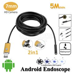 7mm Lens 2in1 Android Endoscope Camera 5M OTG Micro USB Snake Flexible Tube Inspection Android USB Borescope IP68 Waterproof #jewelry, #women, #men, #hats, #watches