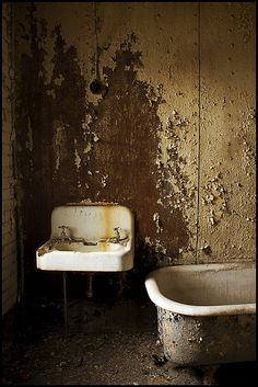 Bathroom in abandoned prison, PA, USA