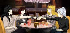RWBY: Bar Fun (Why is Ruby the only one one not smiling?)