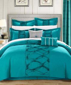 Another great find on #zulily! Turquoise Ruth Ruffle Comforter Set by Chic Home Design #zulilyfinds