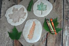 Salt dough colored leaf impressions!! Great fall craft for kids!!