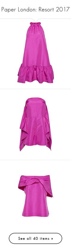 """Paper London: Resort 2017"" by livnd ❤ liked on Polyvore featuring PaperLondon, resort2017, dresses, fuchsia, fuschia pink dress, halter dress, short pink dress, pink mini dress, pink ruffle dress and jumpsuits"