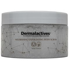 Nourishing, Exfoliating Body Scrub - Wild Flower  Exfoliate and hydrate your skin with Dermalactives body scrub and leave it smooth, soft and healthy.   Dermalactives body scrub removes dead skin cells, improves the look of the skin, makes the skin glow and encourages the natural flow of circulation and bodily fluids within.   Renew your skin and enjoy a relaxing feeling with the use of Dermalactives body scrub.