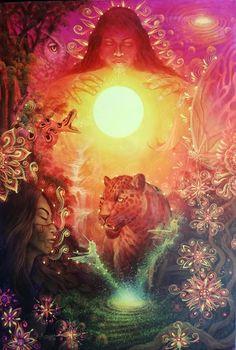 "Original Hand Painted on Canvas ""Amanecer en el bosque lluvioso"" by Jorge Ramirez, Student of Amaringo Jorge Ramirez, Medicinal Plants, Trippy, Art School, Psychedelic, Oil On Canvas, My Arts, Hand Painted, Student"