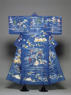 Edo Perio (1615-1868)   hitoe - unlined kosode robe for summer wear -the flowers and trees in the landscape scenes on this robe represent all four seasons, moving upward from spring grasses at the hem of the robe, through  cascading wisteria of early summer, on to the brightly colored leaves of autumn, and, finally, reaching the top of the robe with its wintry pine trees, some showing the new growth of spring. Across the sleeves and upper body the characters of a felicitous poem celebrating…