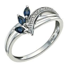 9ct White Gold Diamond & Sapphire Ring - Product number 9589155