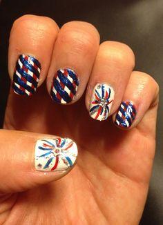 4th of July nail design. Nail art. Firework nail art design. Red white and blue nail art design