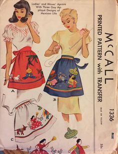 Rare VTG 1336 McCall 1949. Ladies and misses' aprons w/3