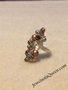 Swarovski Pearl Ring Wire Wrapped Jewelry Handmade Pearl Cluster Ring Pearl Jewelry Modern Gold Pearl Ring Gold Swarovski Rose Gold Ring by JewelsofaQueen on Etsy