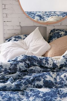 Slide View: 3: Denim Tie-Dye Duvet Cover