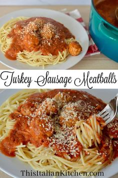 Moist and flavorful Italian Turkey Sausage Meatballs is the only meatball recipe you need! So full of flavor and made with ground turkey, Italian sausage, and a delicious simple marinara sauce. #turkeymeatballs #turkeysausagemeatballs Italian Spaghetti And Meatballs, Italian Sausage Meatballs, Italian Sausage Recipes, Meatball Recipes, Ground Turkey And Sausage Recipe, Ground Turkey Recipes, Spaghetti Recipes, Marinara Sauce, Grilling Recipes
