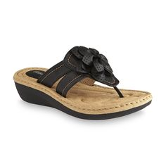 Cobbie Cuddlers Women's Reginy Black Wedge Thong Sandal - Wide Width Available - Clothing, Shoes & Jewelry - Shoes - Women's Shoes - Women's Sandals