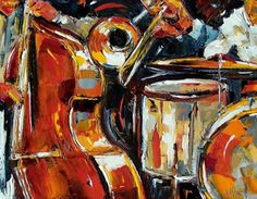 "Original Jazz Art Music Abstract Painting ""Bone Bass and Drums"" by Debra Hurd -http://contemporaryartistsoftexas.blogspot.com/2015/01/original-jazz-art-music-abstract_31.html"